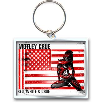 portachiave ad anello - pendente Mötley Crue (Rosso, bianca & Crue Logo) - ROCK OFF, ROCK OFF, Mötley Crüe