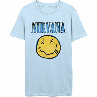 Maglietta da uomo Nirvana - Xerox Smiley - BLU - ROCK OFF, ROCK OFF, Nirvana