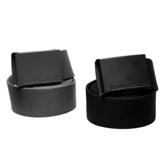 URBAN CLASSICS cintura - Colored Buckle Canvas 2-Pack - asfalto / nero, URBAN CLASSICS