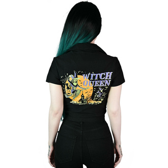Camicia da donna KILLSTAR - Witch Queen Crop Bowling - Nero, KILLSTAR