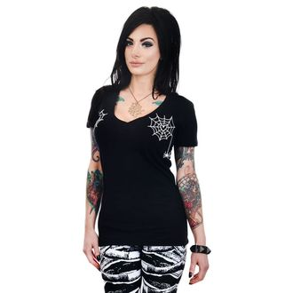 T-shirt gotica e punk donna - HEART SPIDER WEBS - TOO FAST, TOO FAST