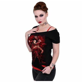 Maglietta da donna SPIRAL - QUEEN OF HEARTS - Nero, SPIRAL