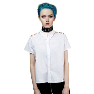 camicia da donna DISTURBIA - Abstract Crop - bianca, DISTURBIA