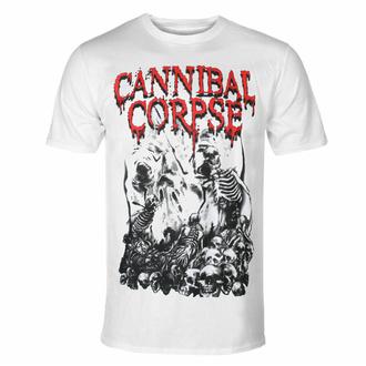 Maglietta da uomo CANNIBAL CORPSE - PILE OF SKULLS - BIANCA, PLASTIC HEAD, Cannibal Corpse