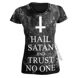 t-shirt hardcore donna - HAIL SATAN AND TRUST NO ONE - AMENOMEN, AMENOMEN
