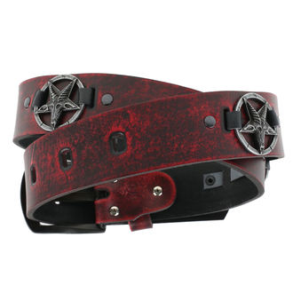 Cintura Baphomet - red, JM LEATHER