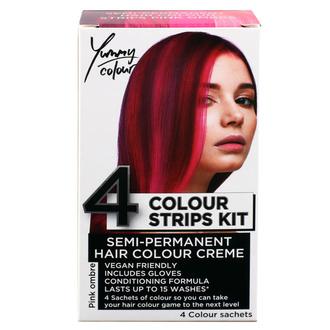 Tinta per capelli  STAR GAZER - Yummy Colour 4 Color Strips Kit - Rosa, STAR GAZER