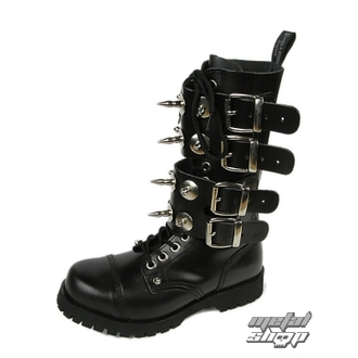 stivali in pelle donna - Scare 4-buckles - BOOTS & BRACES - ČERNÉ, BOOTS & BRACES