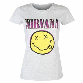 Maglietta da donna Nirvana - Xerox Smiley Pink HEATHER - ROCK OFF, ROCK OFF, Nirvana