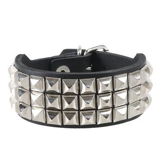 Bracciale con borchie a piramide 3, Leather & Steel Fashion