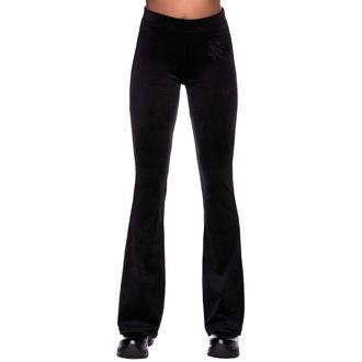 Pantaloni da donna KILLSTAR - Lounge Lizard Velvet Flares - NERO, KILLSTAR