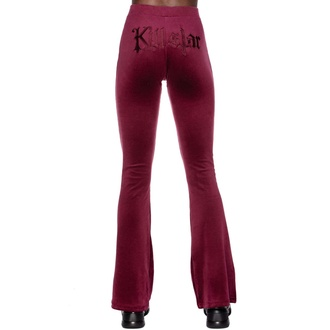 Pantaloni da donna KILLSTAR - Lounge Lizard Velvet Flares - BORGOGNA, KILLSTAR
