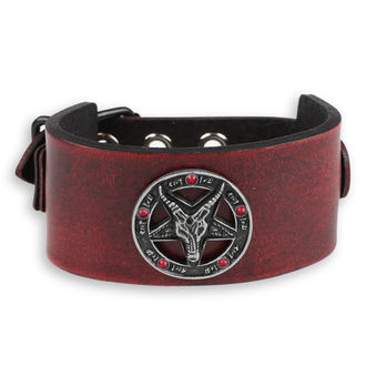 Braccialetto Baphomet - red - cristallo red, Leather & Steel Fashion