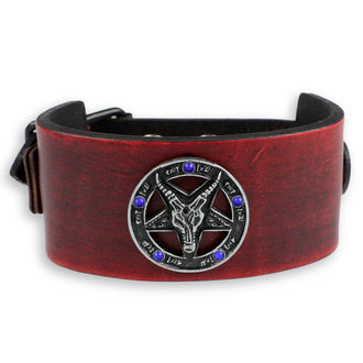 Braccialetto Baphomet - red - cristallo blu, Leather & Steel Fashion