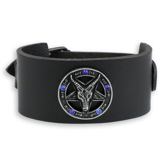 Braccialetto Baphomet - black - cristallo blu, JM LEATHER