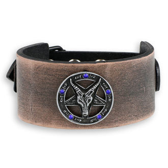 braccialetto Baphomet - brown - cristallo blu, Leather & Steel Fashion