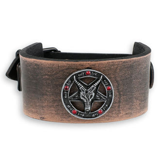 braccialetto Baphomet - brown - cristallo rosso, Leather & Steel Fashion