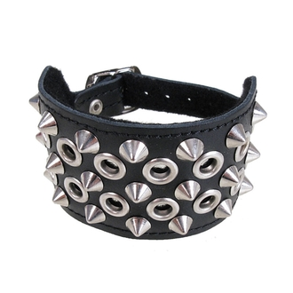 bracciale Borchie 3 + cerchi 2, BLACK & METAL
