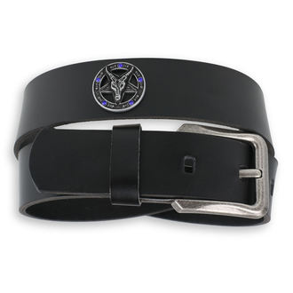 cintura Baphomet - Black krystal - blu, JM LEATHER