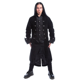 Cappotto da uomo POIZEN INDUSTRIES - PIRATE - NERO VELLUTO, POIZEN INDUSTRIES