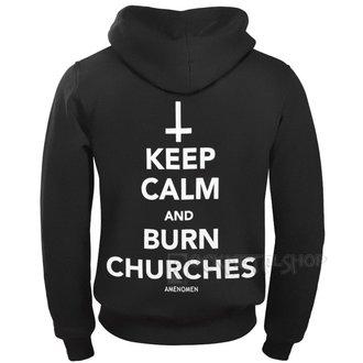 felpa con capuccio uomo - KEEP CALM AND BURN CHURCHES - AMENOMEN, AMENOMEN