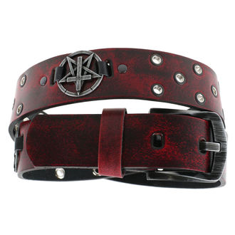 Cintura Pentagramma  Croce  - red, JM LEATHER