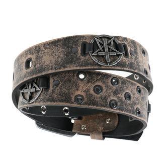 Cintura Pentagramma  Croce  - brown, Leather & Steel Fashion