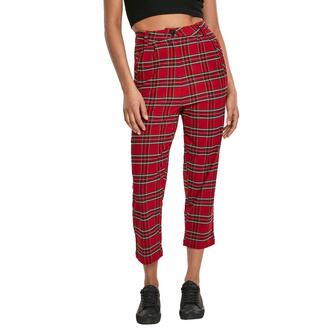 Pantaloni da donna URBAN CLASSICS - High Waist Checker Cropped - rosso / nero, URBAN CLASSICS