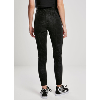 Pantaloni da donna URBAN CLASSICS - Washed Faux Leather Pants - nero, URBAN CLASSICS