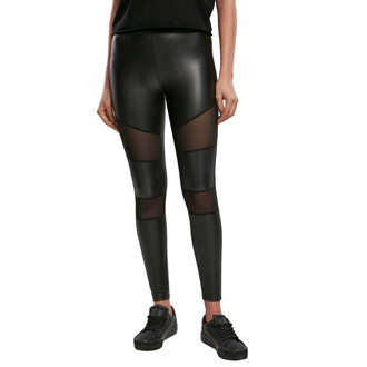 Leggins da donna URBAN CLASSICS - Tech Mesh Faux Leather Leggings - nero, URBAN CLASSICS