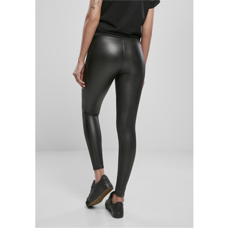 Leggins da donna URBAN CLASSICS - Tech Mesh Faux Leather Leggings - nero, URBAN CLASSICS