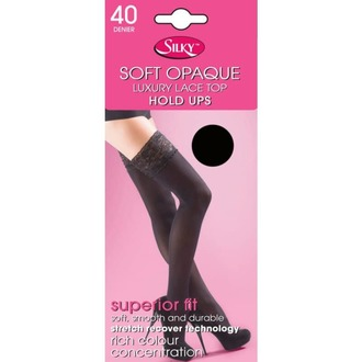 collant LEGWEAR - 40 denier opaque lace top hold ups - nero, LEGWEAR