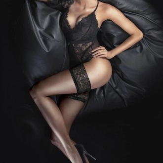 Sostenere calze autoreggenti LEGWEAR - Ultra gloss lace top hold ups - Appena nero, LEGWEAR