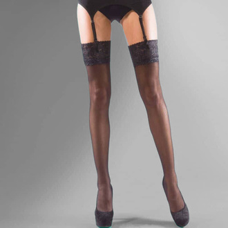collant LEGWEAR - shine lace top - nero, LEGWEAR